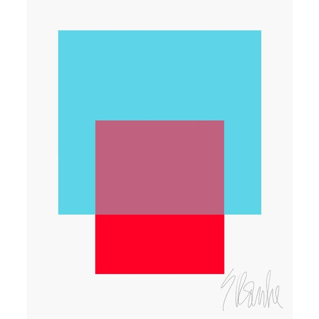 "The Interaction of Turquoise and Red Fine Art Print 25"" X 30"" by Liz Roache For Sale In Boston - Image 6 of 6"