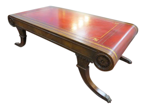Antique Weiman Neoclassical Red Leather Top Mahogany Coffee Table For Sale