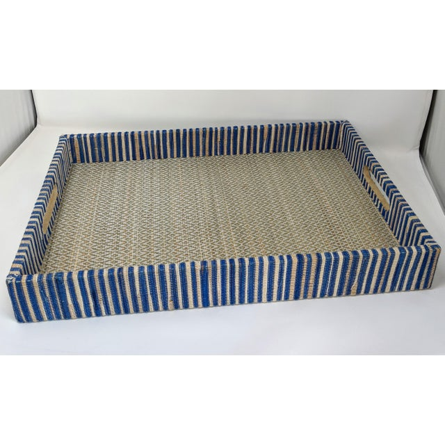 Organic Rectangular Woven Tray With Cotton and Rattan For Sale - Image 10 of 10