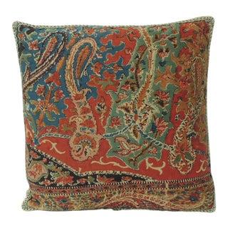 Petite Kashmir Paisley Indian Silk Red Textile Decorative Pillow For Sale