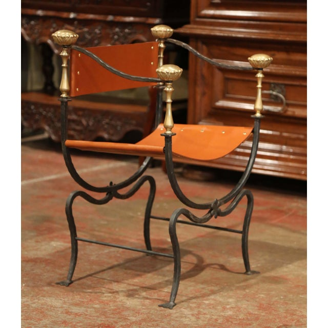 19th Century Italian Wrought Iron, Bronze and Tan Leather Campaign Armchair For Sale In Dallas - Image 6 of 9
