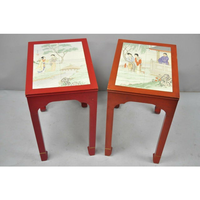 Vintage Oriental Ming Style Red Wooden Side End Tables With Tile Tops - A Pair For Sale - Image 10 of 11