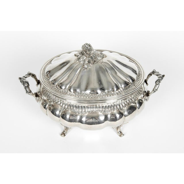 Art Nouveau Large Antique Sterling Silver Two Piece Covered Tureen For Sale - Image 3 of 13