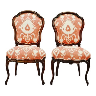 Vintage Victorian Style Upholstered Accent Chairs - a Pair For Sale