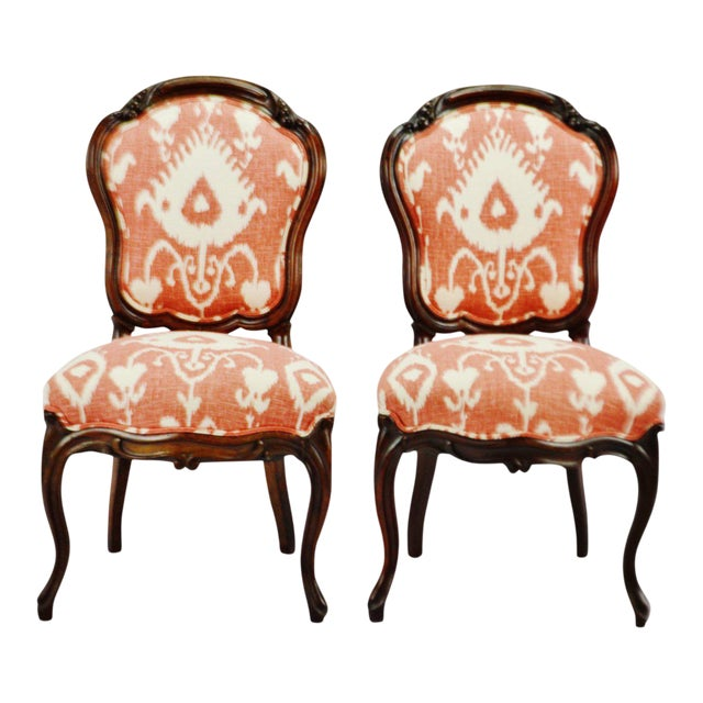 Pleasant Vintage Victorian Style Upholstered Accent Chairs A Pair Creativecarmelina Interior Chair Design Creativecarmelinacom