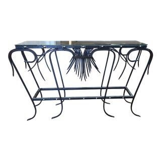 Custom Iron + Glass Console Table For Sale