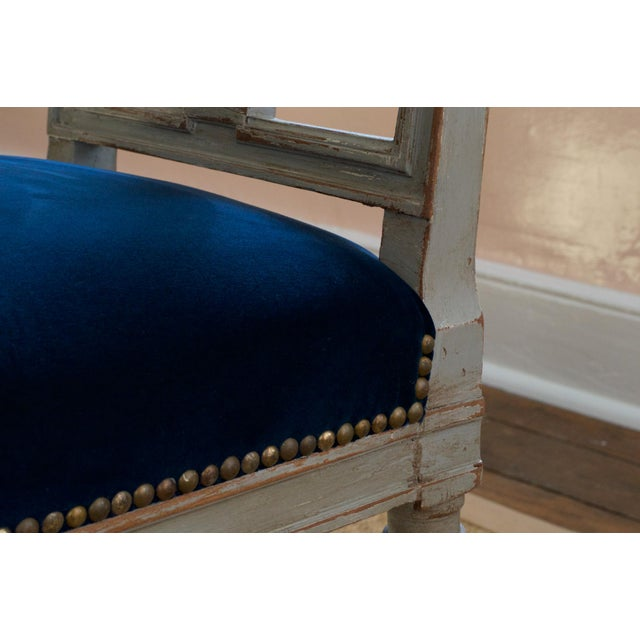 1940s French Louis XVI Lyre Back Dining Chairs in Blue Indigo Velvet For Sale - Image 5 of 8