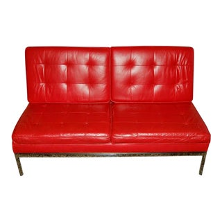Two Seat Red Leather Knoll Tufted Slipper Sofa With Label For Sale