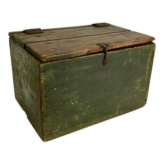 Vintage English Country Painted Wood Box For Sale