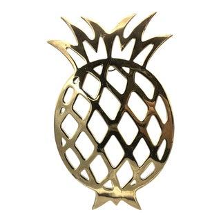 Mid-Century Brass Pineapple Trivet For Sale