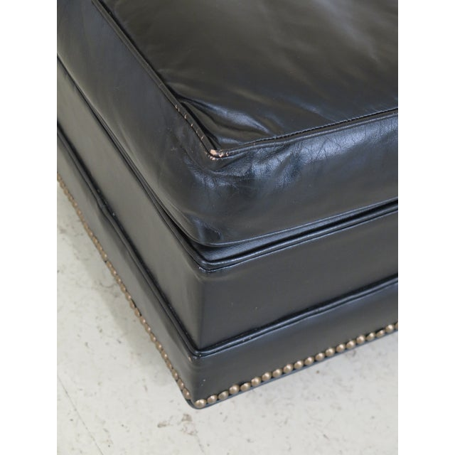 Sherrill Black Leather Club Chair & Ottoman For Sale - Image 11 of 13