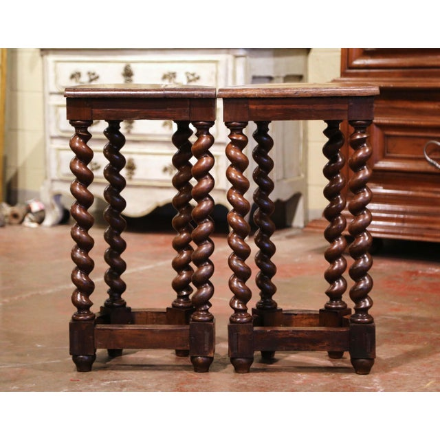 Wood Mid-19th Century Louis XIII Oak Barley Twist Demilune Side Tables - a Pair For Sale - Image 7 of 9