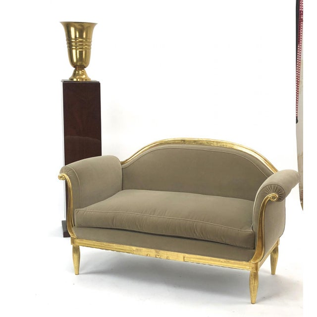 Maurice Dufrène Maurice Dufrène Awesome Refined Art Deco Carved Gilt Wood Frame Couch For Sale - Image 4 of 6