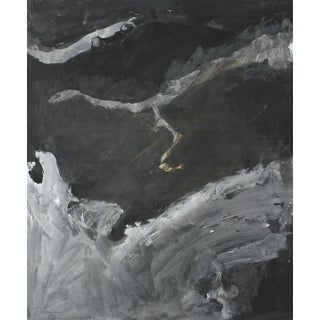 Stormy Monochromatic Abstract Gouache and Charcoal For Sale