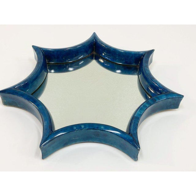 Glass Dark Blue Goatskin Wall Mirror For Sale - Image 7 of 8
