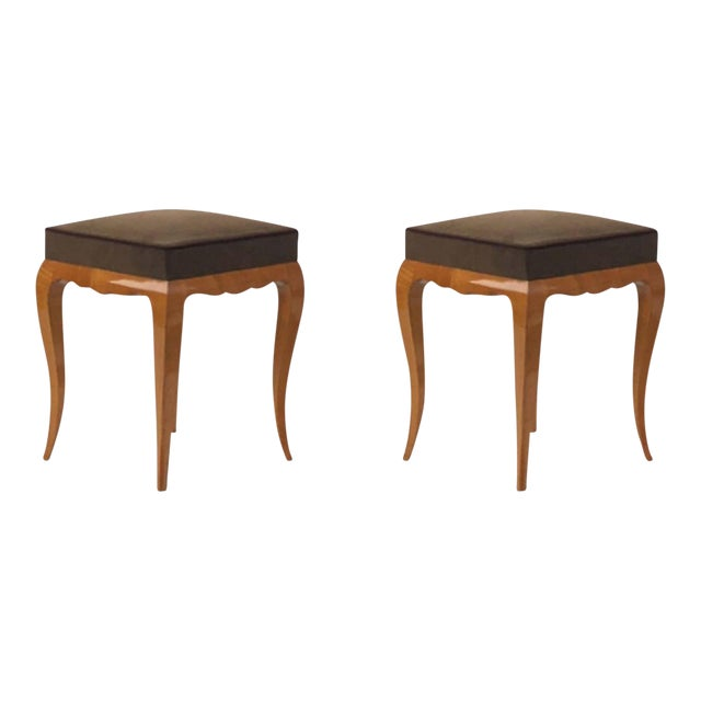 Rene Prou Refined Solid Sycamore Pair of Stools For Sale