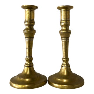 19th Century French Cast Brass Candlesticks - a Pair For Sale