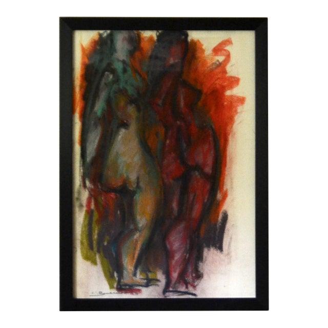 Authentic Hans Burkhardt Original Pastel 'Two Nudes' 1963 For Sale