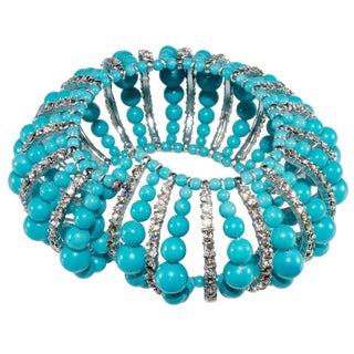 Vendome Bracelet Vintage Prototype Turquoise-Glass & Clear Rhinestones Wrap For Sale