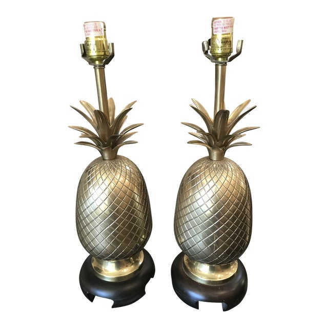 Pair of Frederick Cooper Brass Pineapple Lamps For Sale