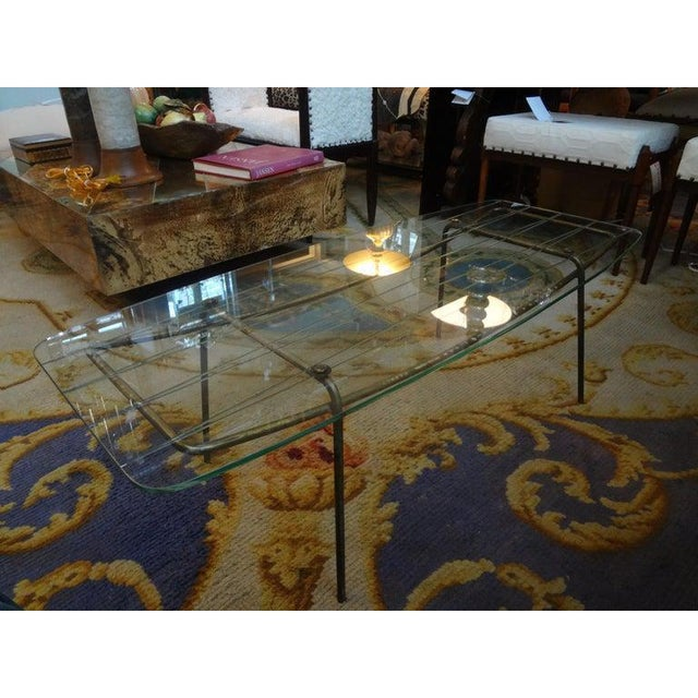 Metal Italian Gio Ponti Inspired Brass and Glass Coffee Table For Sale - Image 7 of 13