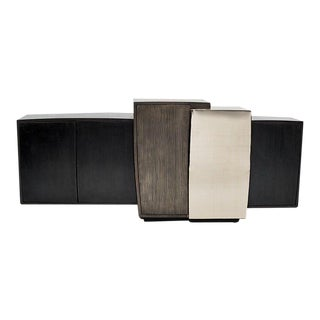 Gary Magakis, Blackened Steel Console with Grained and Mirrored Bronze, USA, 2015 For Sale