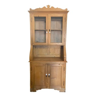 Antique Scrubbed Pine Cabinet For Sale
