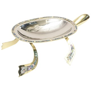 Los Castillo Abalone, Brass & Silver Plate Centerpiece/Serving Bowl For Sale