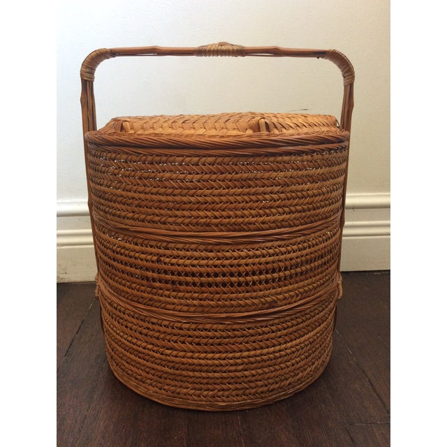 Antique Chinese three tiered large size wedding hand woven wicker basket with bamboo handle.