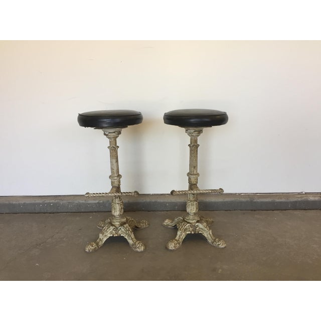 Industrial Antique Cast Iron Barstools - A Pair For Sale - Image 3 of 3