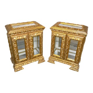 Hollywood Regency Italian Vitrines Display Curio Cabinets - a Pair For Sale