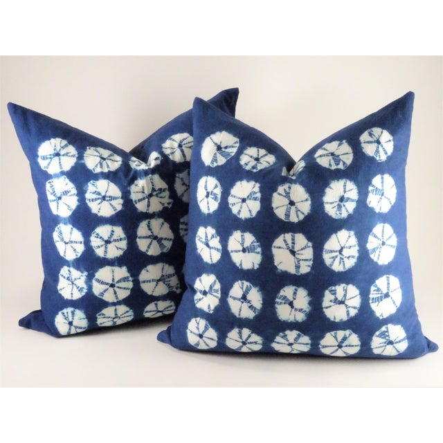 Asian Style Indigo Tie Die Hand Made Pillows - a Pair For Sale - Image 10 of 10