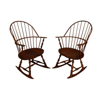 Martins Chair Shop Inc Bench Made Solid Cherry Sack Back Pair of Windsor Rockers (A) For Sale