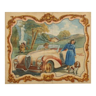 Delahaye Automobile Painting, circa 1930s For Sale