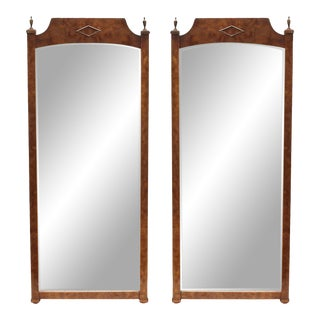 Pair of Mid-Century Walnut- Burwood Mirrors For Sale
