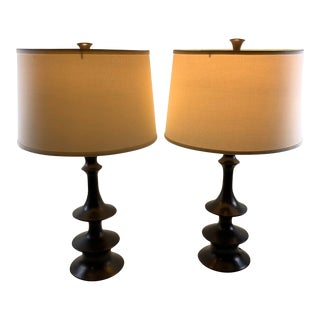 Organic Modern McGuire Blackened Copper Lamps - a Pair For Sale