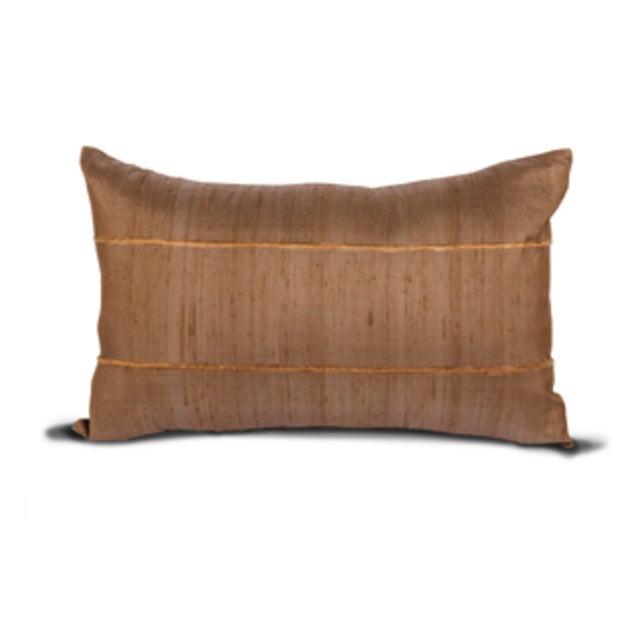 Mocha Raw Silk Lumbar Pillow Covers - Pair - Image 1 of 2