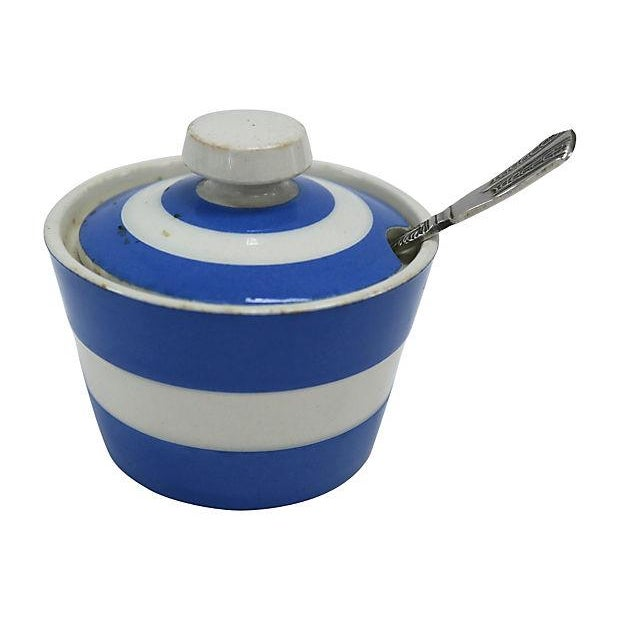 Vintage English Cornishware Mustard Pot with Spoon - Image 1 of 3