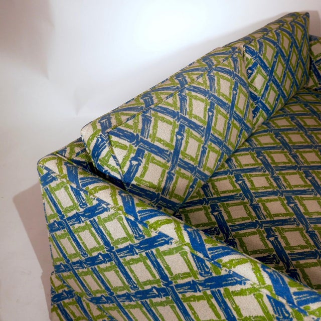 Blue Pair of Regency Chinoiserie Tuxedo Settees in Lattice Bamboo Upholstery For Sale - Image 8 of 13
