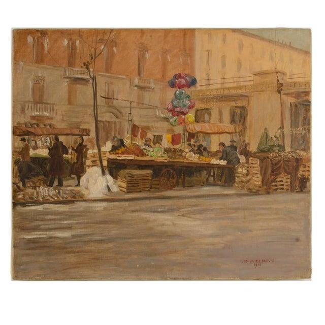 "1940s ""Market in Milan"" Street Scene Oil Painting by Joshua Felise Ziro Brevio For Sale - Image 13 of 13"