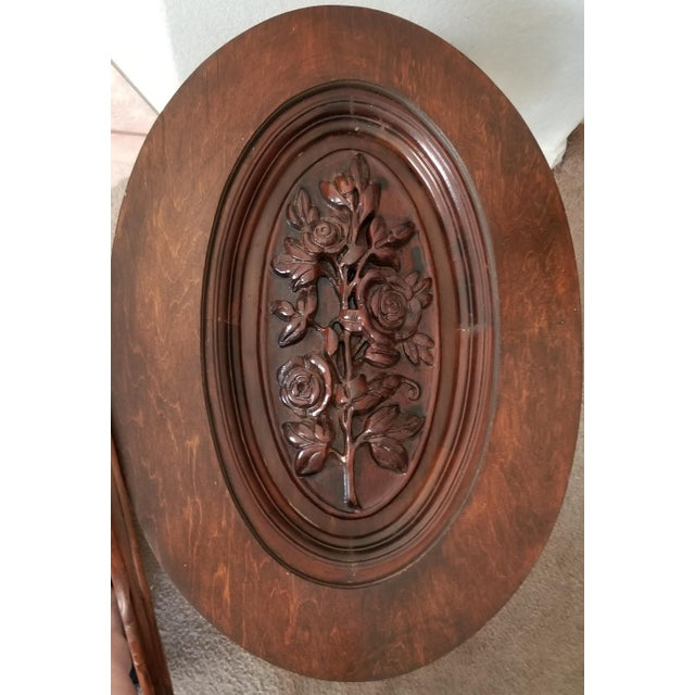 Art Deco 1930's Heavily Carved Wooden Table W/Glass Tray Removable Top For Sale - Image 3 of 13