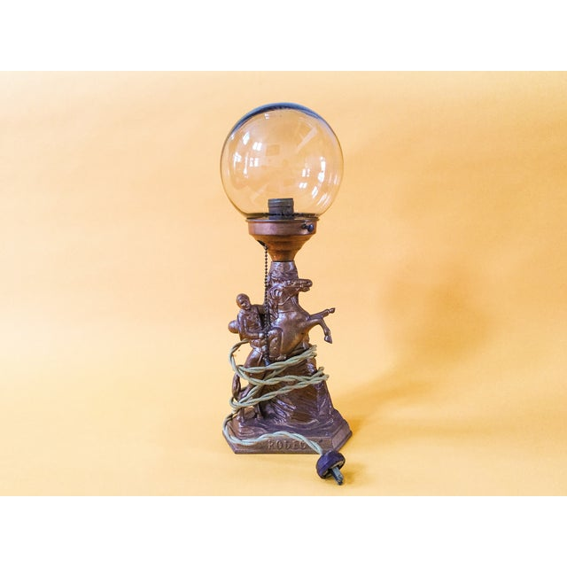Cowboy Rodeo Bronze Lamp with Glass Globe - Image 4 of 4