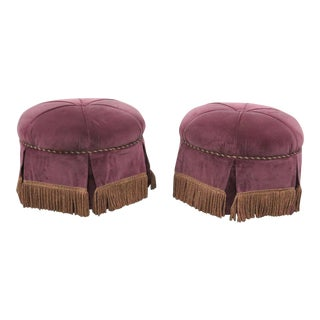 Contemporary Purple Velvet Gold Tassel Ottomans - a Pair For Sale