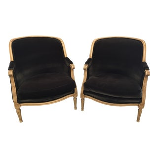 Louis XVI Style Bergere Chairs - a Pair For Sale