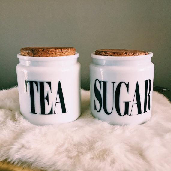 Mid-Century Modern Vintage Milk Glass Sugar & Tea Canister Jars - A Pair For Sale - Image 3 of 8
