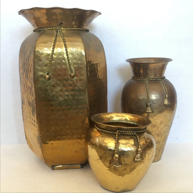 Brass Vases with Cord and Tassel - 3 - Image 6 of 6