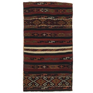 Antique Blood Red and Navy Malatya Kilim From Turkey For Sale