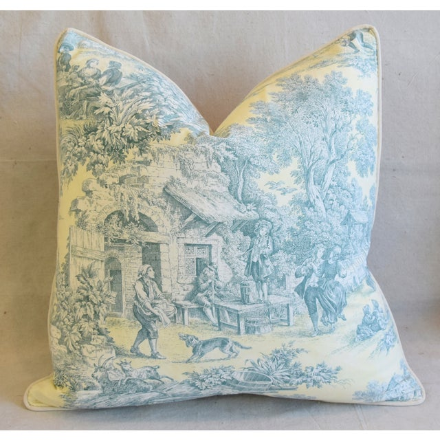 """Early 21st Century French Farmhouse Country Toile Feather/Down Pillows 24"""" Square - Pair For Sale - Image 5 of 13"""