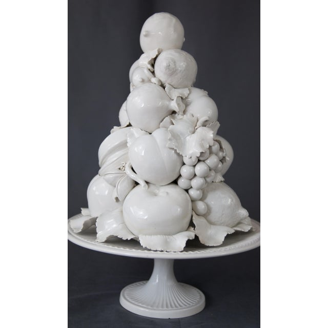 White Large Italian White Creamware Fruit Topiary Centerpiece For Sale - Image 8 of 13