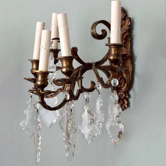 Pair of French 5 Light Bronze and Crystal Wall Sconces For Sale - Image 5 of 11